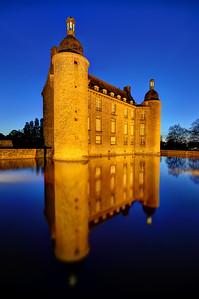 Flers Castle at night, Flers, Orne, France
