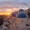 Santorini Blue Domes and Sun