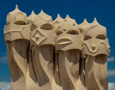 Gaudi sculptures on roof of La Pedrera, Barcelona