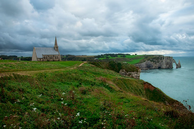 Panoramic view of Chapelle Notre-Dame-de-la-Garde, Étretat, France