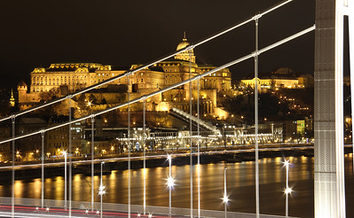 Budapest night scene through suspension bridge