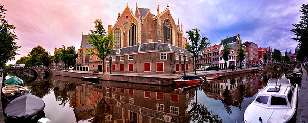 The reflection of old Church in the Canal, Amsterdam.