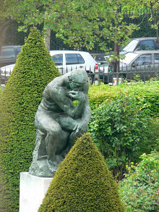 The Thinker from window
