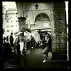 Computing in the rain on Ponte Vecchio, Florence, June 7, 2011.