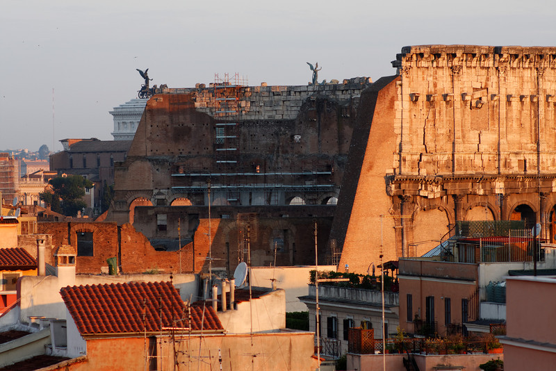 View of the Colosseum from the hotel balcony in the morning, June 3, 2011.<br /> <br /> Rome_MC_06032011_003