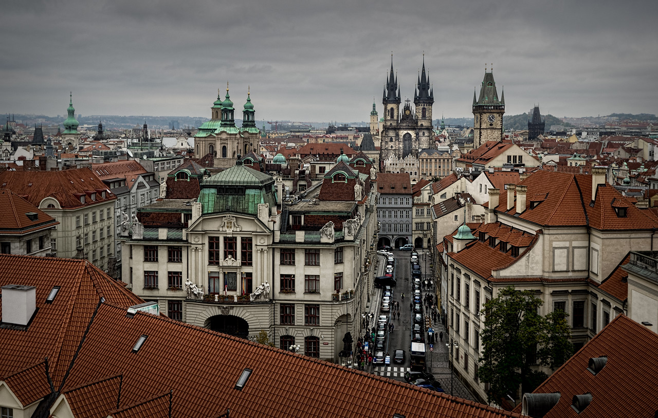 Prague overview, from the Klementium observation tower, Prague (Praha), Czech Republic I