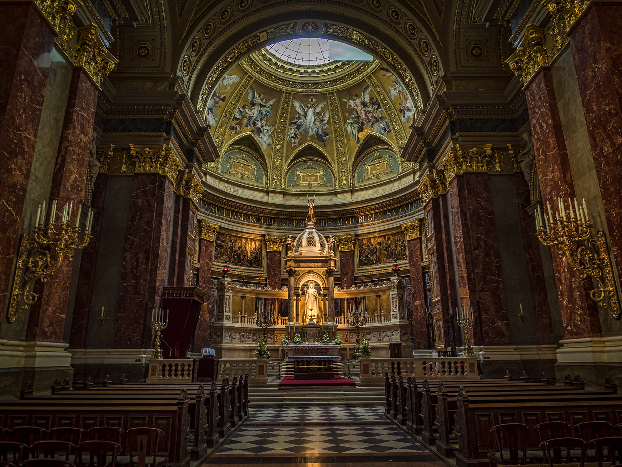 Inside the St. Stephens Basilica, Budapest, Hungary