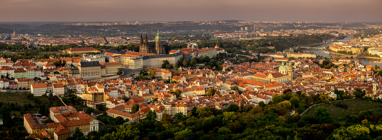 The Royal Palace and St. Vitus Church, with Mala Strana below, Prague (Praha), Czech Republic (Version 3)