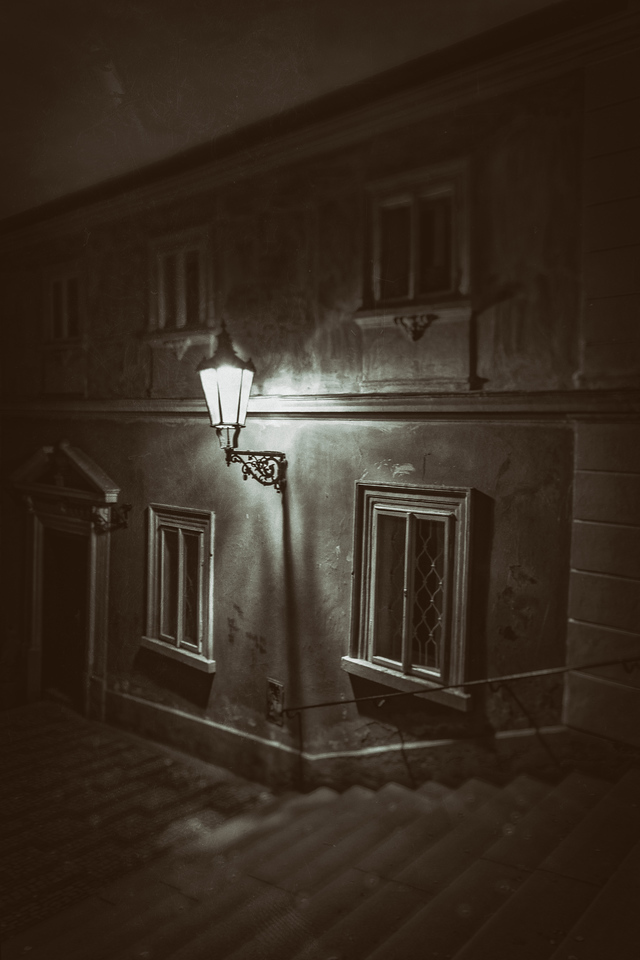 This was a stairway near our apartment that led up to the Royal Palace.  I felt like it had an old world feel to it, especially at night.  This is my attempt at trying to recreate that feel.