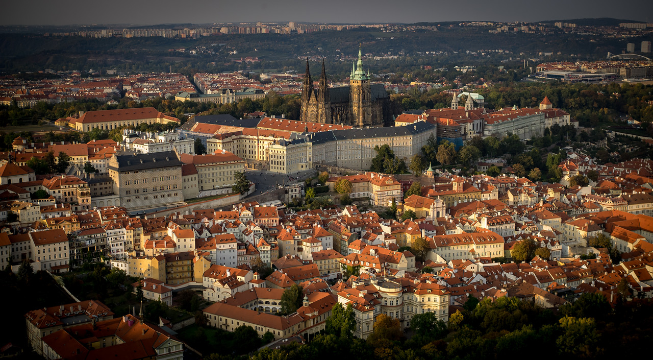 The Royal Palace and St. Vitus Church, with Mala Strana below, Prague (Praha), Czech Republic (Version 2)