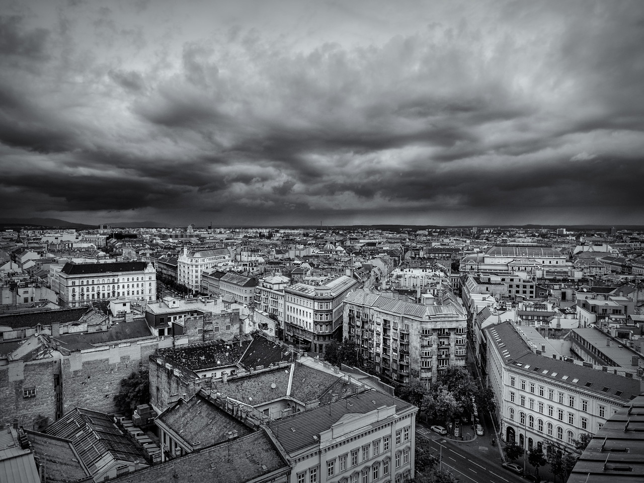 Overview of the city from St. Stephens Basilica, Budapest, Hungary