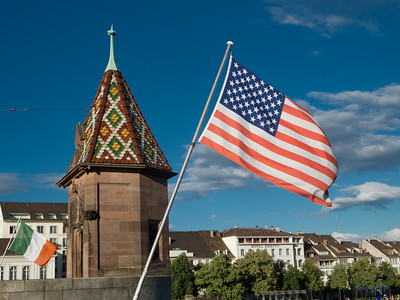Welcome flag.  Over thee river in Basel  Flying the American flag.