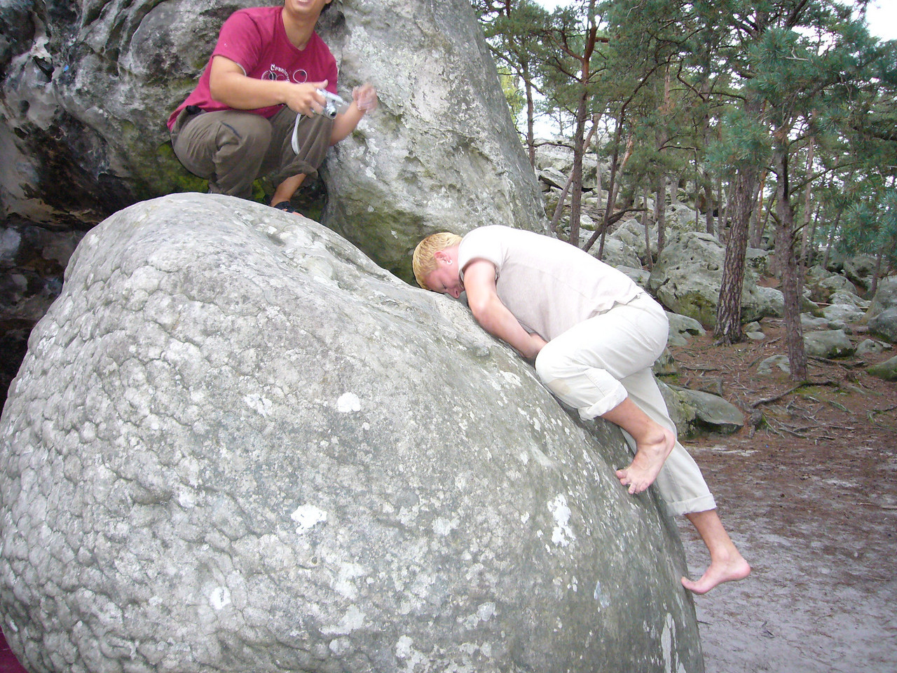 I got up this rock with a running ascents, then Alvin (red shirt) did it.  For Brian's attempt I think gravities pull was stronger.