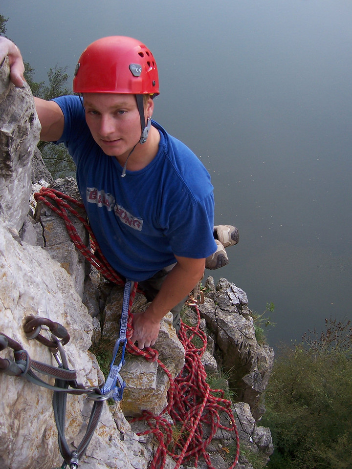 That look says it all!  He was so exhausted when he finally got to my belay.