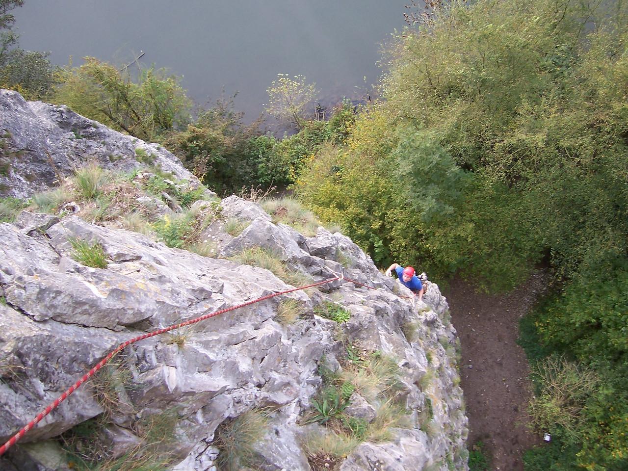 A really long, polished, and pumpy climb at Freyr, Belgium.  Here Brian follows.