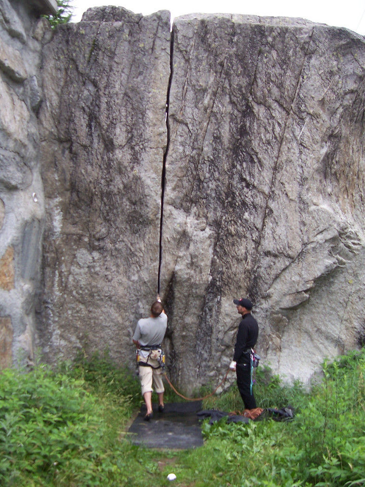 The Kosterlitz boulder which is in the parking area for the approach to the bigger climbs.  This had provided my friends a day of entertainment before I got there.  A perfect splitter with no approach, very nice.