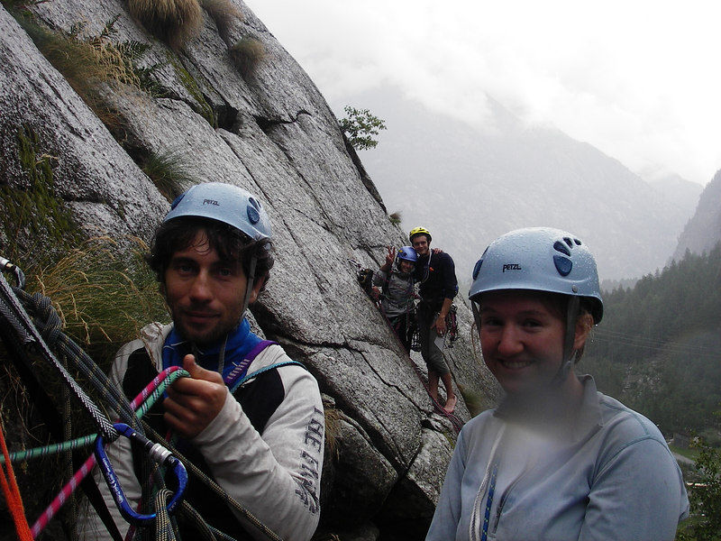 Giulio and Sarah wait at the first belay while I deal with ropes higher up.  Taz and Paolo were doing a different climb behind them.