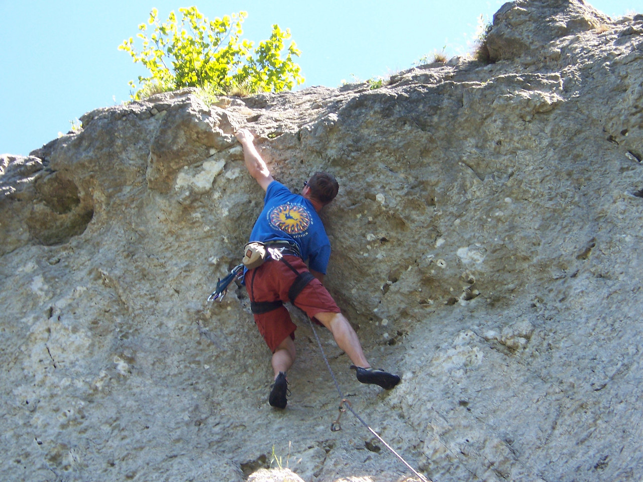 My first climb, alittle tough for a warm up but really good!  Freyr is limestone sport climbing.