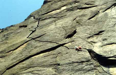 Here is a photo from the internet.  The climber has just left the first belay.  The 2nd pitch ends 20' or so after the crack goes vertical.  We did not get to do the last pitch because of rain.  For a trip where it rained everyday, I still had a blast and got alot of good climbing in.