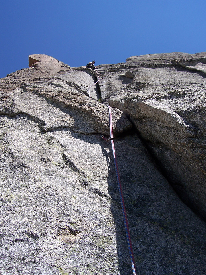 One of the most fun leads I had all day.  Crack climbing, love the cracks.  It even had some offwidth and for the first time ever I clipped a wooden chalk slung with some old cord.  Almost tested it too when my foot slipped!