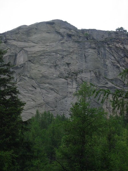 Taz took this picture from the parking lot at the Kosterlitz boulder.  If you look at the original you will be able to see me, 15' below the second belay.
