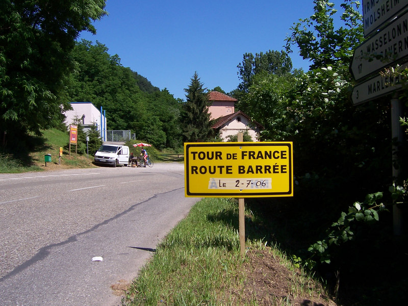 Driving through France on my way to climb in Switzerland.  I wondered why I was seeing people picnicking along the road and then there was traffic cops everywhere.  Finally saw a sign that said I was on the official road of the Tour de France (not sign pictured).  Exciting for sure, but I was anxious to get outta France before getting stuck there!
