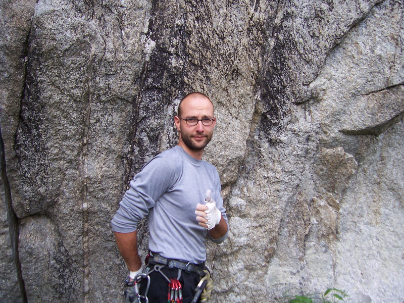Heiko clocked in alot of time on the Kosterlitz boulder, hoping to refine his crack technique.