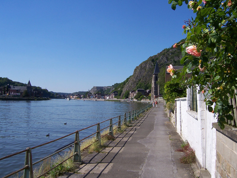 Taking in the scenery as I walk towards the center of town along the Meuse River.