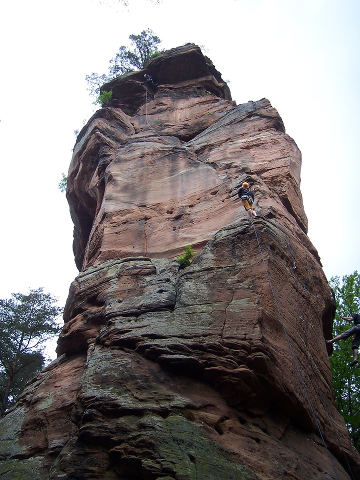 So the EuroFreaks - that's the group I'm a part of which bases out of rockclimbing.com - had a gathering at the Pfalz area in Germany.  Conveniently enough this place is only 1 hour from where I live.  There are numerous sandstone towers and cliff bands hidden out in the woods.  There are also numerous ticks hidden out in the woods!  This picture shows the first tower we climbed on.  The party on the wall is not with a us but they are on a really good 2 pitch route.