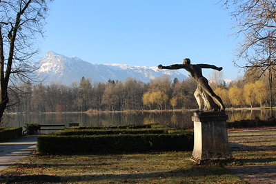 The lake in front of the von Trapp house from the Sound of Music, with the Untersberg beyond, Salzburg, Austria