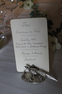 Menu for dinner at Lanhydrock, Cornwall, England