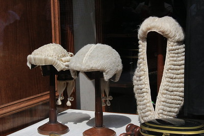 Barrister's wigs in a window, London, England