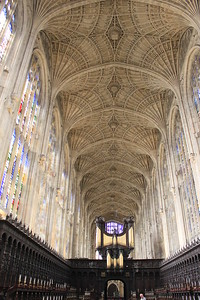 Choir stalls and ceiling at King's College Chapel, Cambridge England