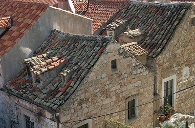Old and new tiles in old town of Dubrovnik, Croatia
