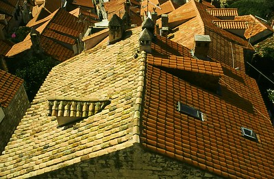 Tile roofs in Dubrovnik, after the shelling in the war - they added a skylight!