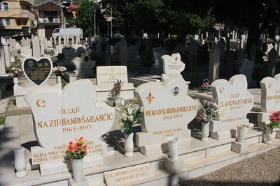 Graveyard in the center of town in Mostar, showing the effect of the 1993 war.