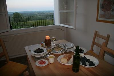 Homemade dinner overlooking the Dordogne valley