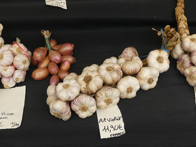 Garlic at weekly market, St. Cyprien, Dordogne
