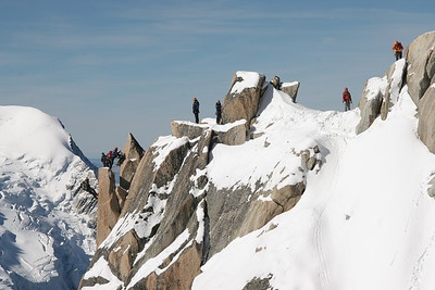 A mountain climbing class near Mont Blanc