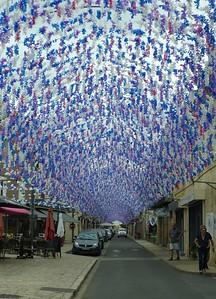 Street decorations for Felibree Festival, St. Cyprien, Dordogne