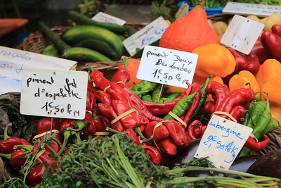 Market day at St. Cyprien, in the Dordogne