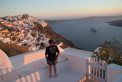 A tourist living the good life in Santorini