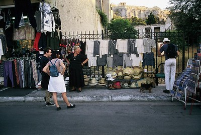 Shopping for hats in Plaka, Athens