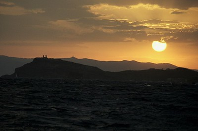 Sunset over Cape Sounion