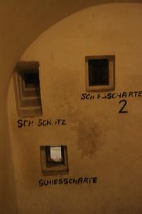 Machine gun placement in bunker under Hitler's Berghof in Obersalzburg, Germany