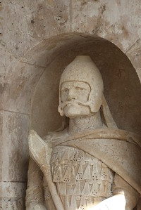 Guard statute at Fisherman's Bastion, Budapest, Hungary