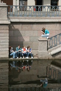 Photographing young girls on the canals of St. Petersburg, Russia