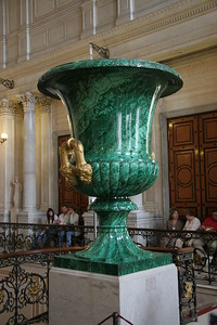 Malachite Urn in Winter Palace, St. Petersburg. There is a matching urn in the Grand Reception Room at Windsor Castle in England.