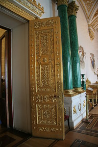 Golden door and malachite columns, Winter Palace, St. Petersburg, Russia