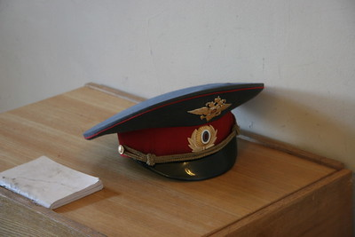 Army hat, left behind by security officer, St. Petersburg, Russia